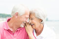 Smiling senior couple happy and at the beach Royalty Free Stock Photo