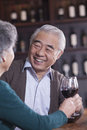 Smiling senior couple toasting and enjoying themselves drinking wine focus on male Royalty Free Stock Photos