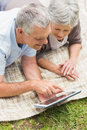 Smiling senior couple using digital tablet at park Royalty Free Stock Image