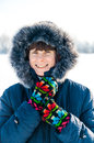 Smiling Senior Woman Winter Portrait Stock Photos