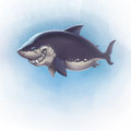 Smiling shark with sharp teeth illustration of blue background fading to white Stock Photo