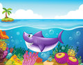 A smiling shark under the sea with corals illustration of Stock Photos