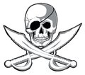 Smiling skull two pirate swords isolated vector separate layers Royalty Free Stock Photos
