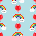 Smiling sleeping clouds, rainbows and hot air balloons seamless pattern. Royalty Free Stock Photo