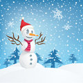 Smiling snowman a happy with hat and scarf in front of a pine forest while it is snowing Stock Image