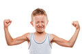 Smiling sport child boy showing hand biceps muscles strength beauty his white isolated Stock Photos