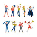 Smiling sport fans and supporters characters. Support for team sports vector Illustrations