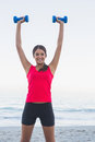 Smiling sporty woman holding dumbbells on the beach Stock Photography