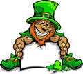 Smiling St. Patricks Day Leprechaun Holding Sign Stock Photos
