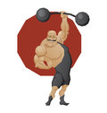 Smiling strong man lift a barbell illustration of cartoon character of circus mighty done in edged geometric style of muscle in Royalty Free Stock Image