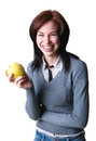 Smiling student with apple pretty happy young college woman model wearing gray pullover striped shirt holding ripe yellow in her Stock Images