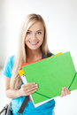 Smiling student with folders bright picture of Royalty Free Stock Images