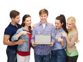 Smiling students with laptop computer education advertisement and new technology concept blank screen Royalty Free Stock Photography