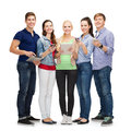 Smiling students using smartphones and tablet pc education modern technology concept Stock Photography