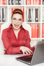 Smiling success business woman in glasses Stock Images