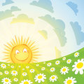Smiling sun and chamomile Stock Image