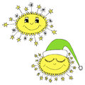 Smiling sun day sleeping sun night hand drawn vector illustration Royalty Free Stock Photos