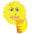 Smiling sun drinking orange juice happy yellow and a cool summer drink through a straw Stock Image