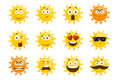 Smiling sun emoticons. Vector cartoon smile set