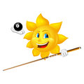Smiling sun is playing billiards isolated on white background Royalty Free Stock Photos
