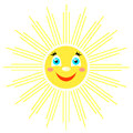 Smiling sun with rays of different shapes. Icon on a white background. Vector image in a cartoon style