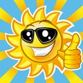 Smiling sun showing thumb up illustration clip art gradient mash Stock Image