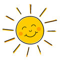 Smiling sun vector drawing of happy illustration Royalty Free Stock Photo