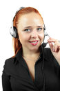 Smiling support phone operator in headset Royalty Free Stock Photography