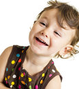 Smiling surprised little girl Stock Images