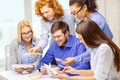 Smiling team with color samples at office business architecture and startup concept creative Royalty Free Stock Image
