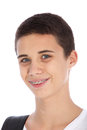 Smiling teenage boy with orthodontic braces Stock Photo