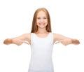 Smiling teenage girl in blank white shirt design concept Stock Photo