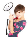 Smiling teenage girl with megaphone