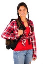 Smiling Teenage Girl with Plaid Shirt bakcpack Royalty Free Stock Images