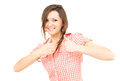 Smiling teenage girl with thumbs up Royalty Free Stock Photography