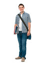 Smiling teenager with a schoolbag Stock Images