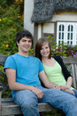 Smiling Teens Outside Royalty Free Stock Photography