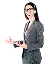 Smiling telemarketing girl posing in headsets Royalty Free Stock Images