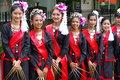 Smiling thai women wearing northern thailand traditional dresses Royalty Free Stock Images