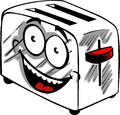 Smiling toaster cartoon style illustrated Stock Images