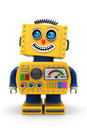 Smiling toy robot yellow is looking up in the air with a big smile on its face Royalty Free Stock Photo