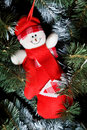 Smiling toy snowman hanging on Christmas fir-tree Stock Photography