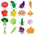 Smiling vegetables icons set, cartoon style Royalty Free Stock Photo