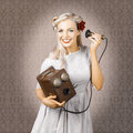 Smiling Vintage Woman Hearing Good News On Phone Royalty Free Stock Photos