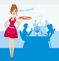 Smiling waitress serving pizza illustration Stock Images