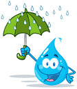 Smiling water drop with umbrella Stock Photography