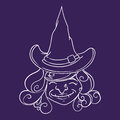 Smiling witch with pointy hat inline vector illustration happy old on purple background Stock Images