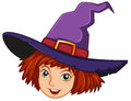 A smiling witch with a purple hat illustration of on white background Stock Photos