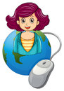 A smiling woman above the earth with a computer mouse illustration of on white background Stock Image