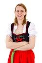Smiling woman anticipate next oktoberfest season Royalty Free Stock Photo